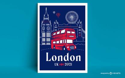 London city tourist bus travel poster design