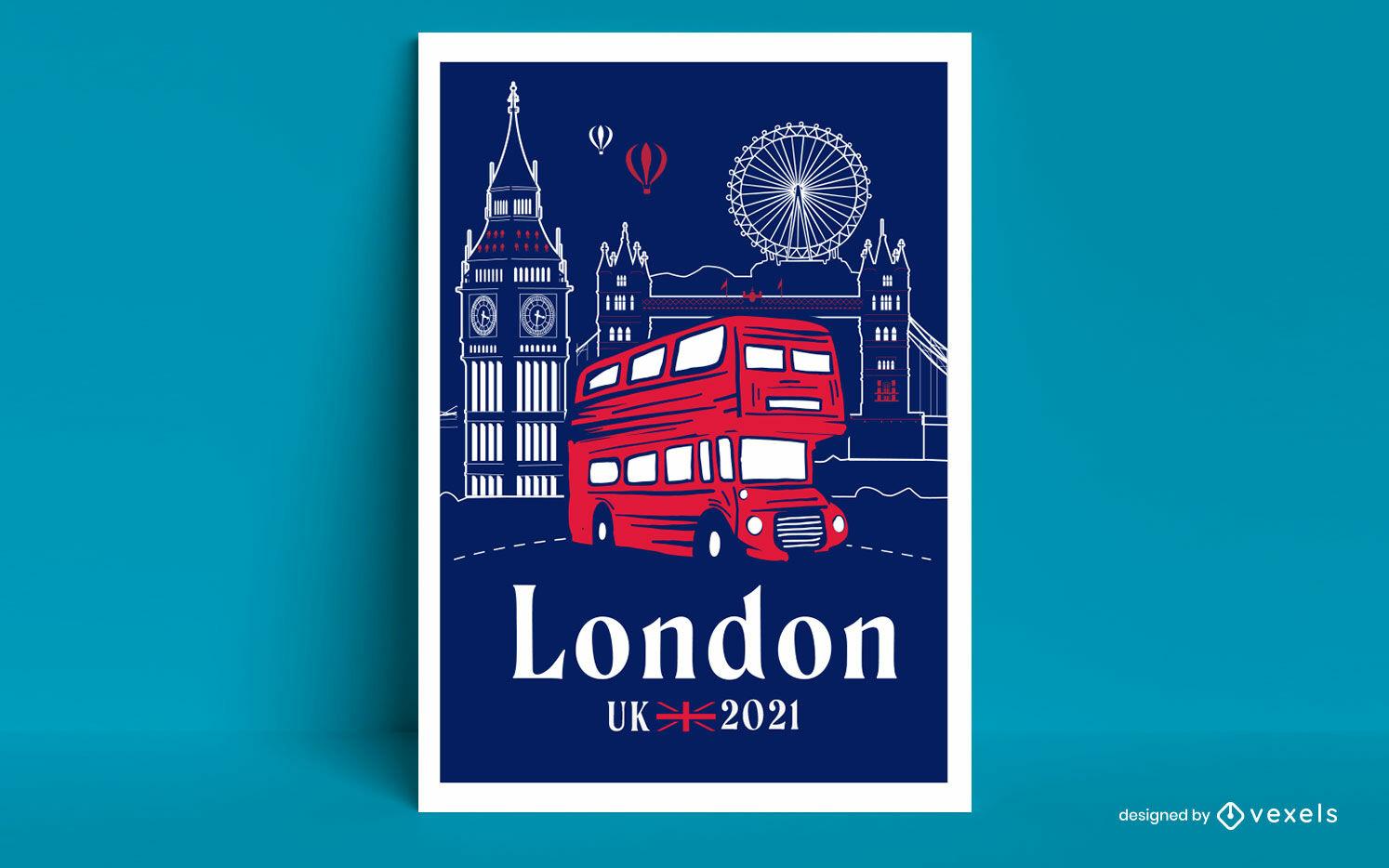 Diseño de carteles de viajes en autobús turístico de la ciudad de Londres.