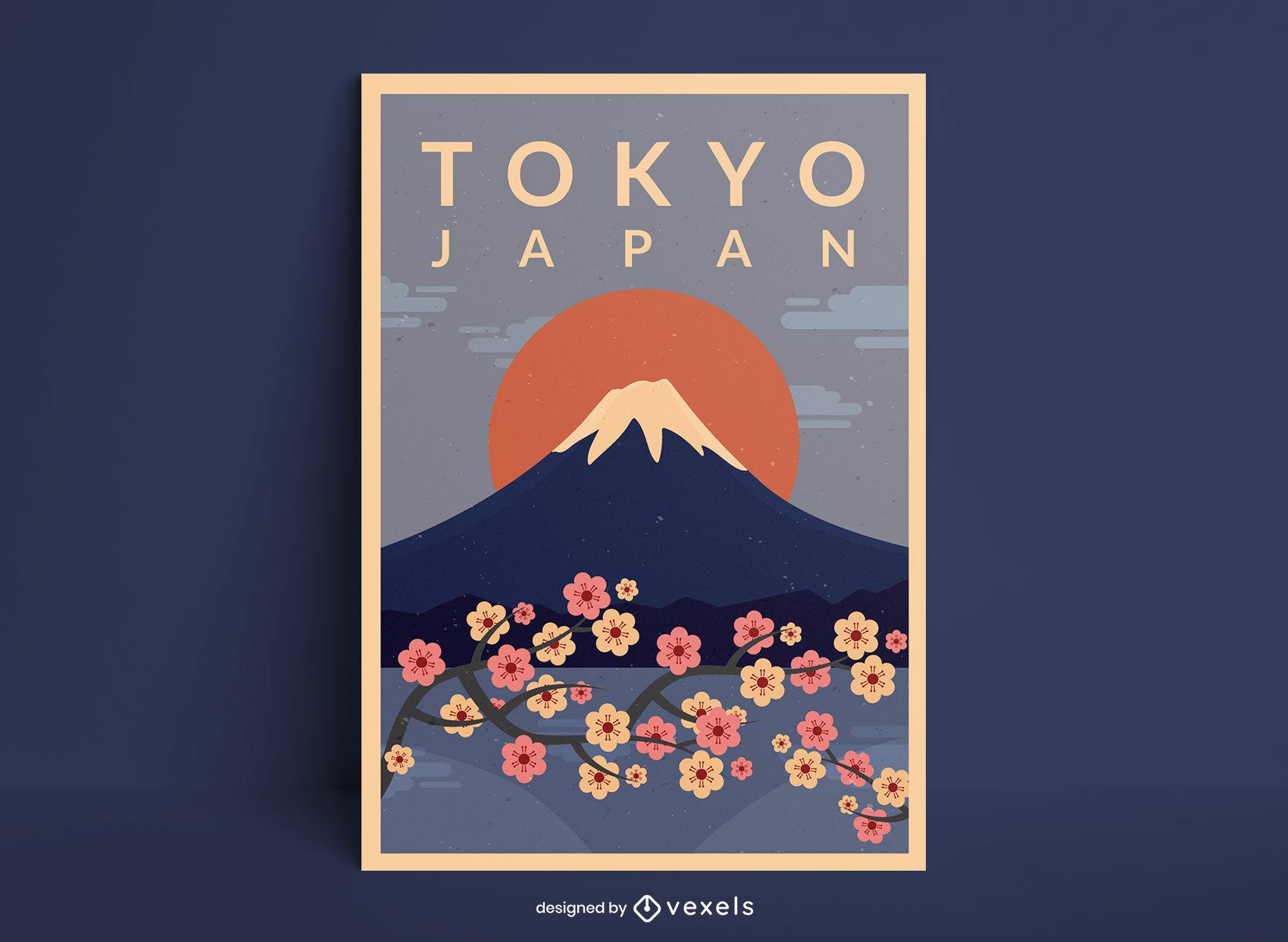 Design de pôster de viagem do Monte Fuji Tóquio no Japão