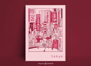Diseño de cartel de cómic de la ciudad de tokio japón
