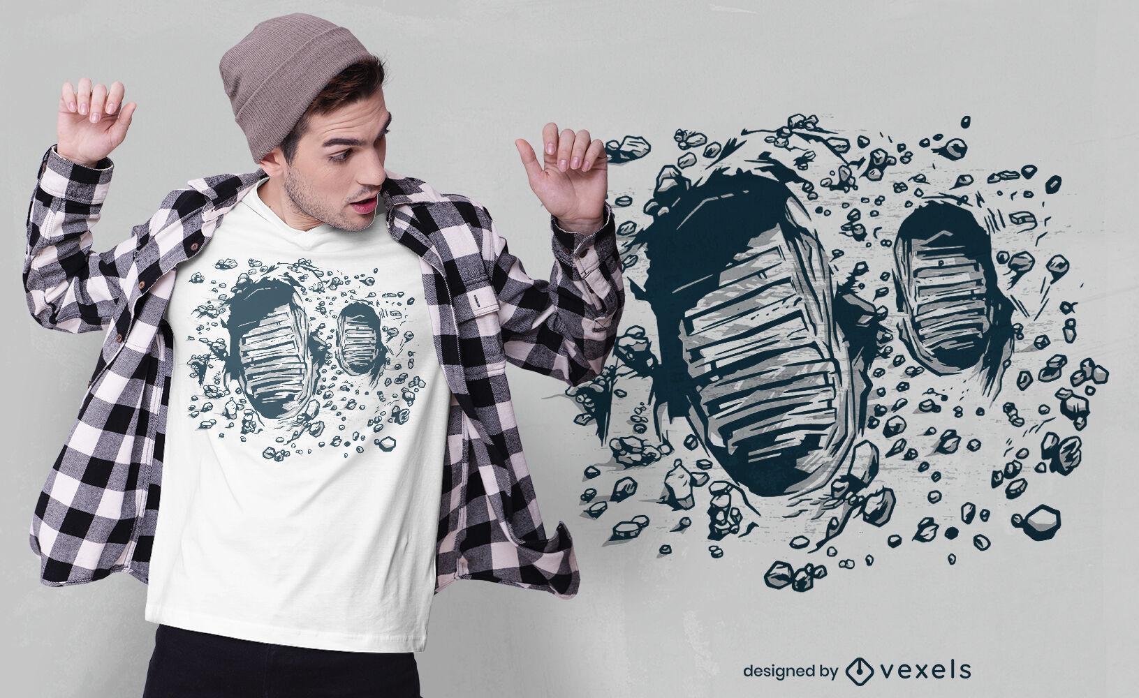 Diseño de camiseta de huellas de luna.