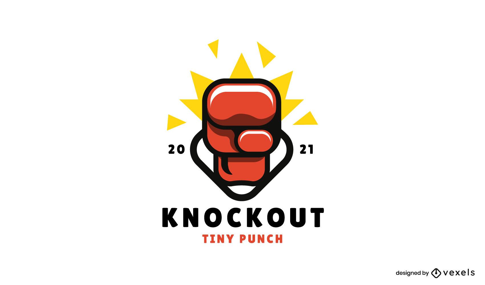 Logotipo brilhante da luva de boxe