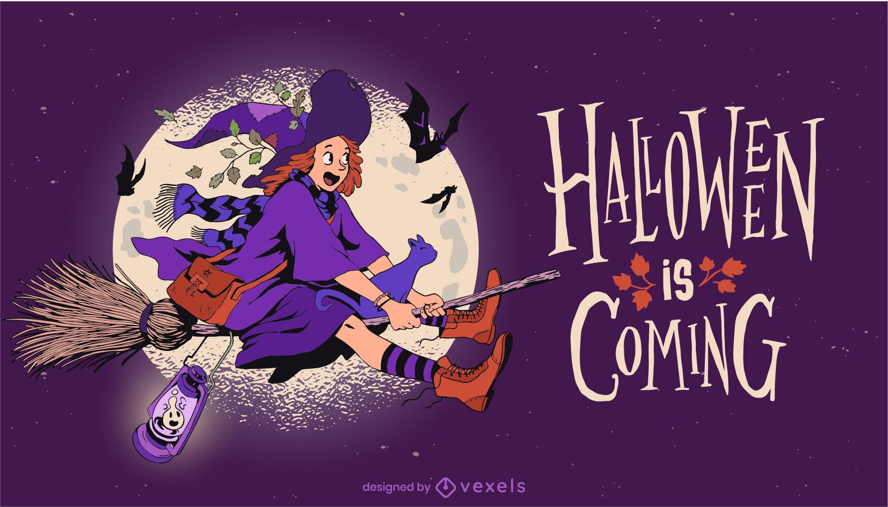 Bruja volando ilustración de vacaciones de halloween