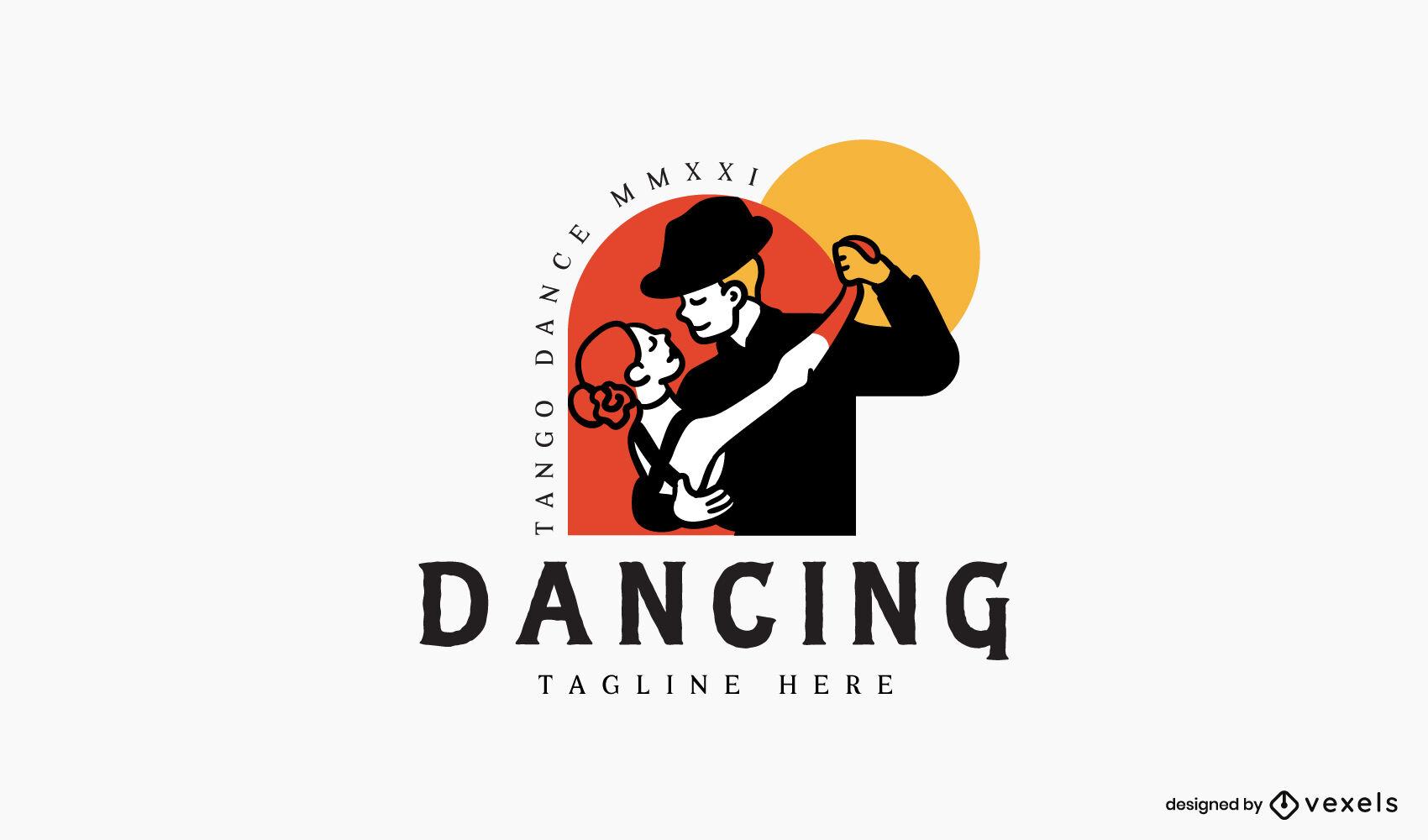 Tango dancing couple logo design