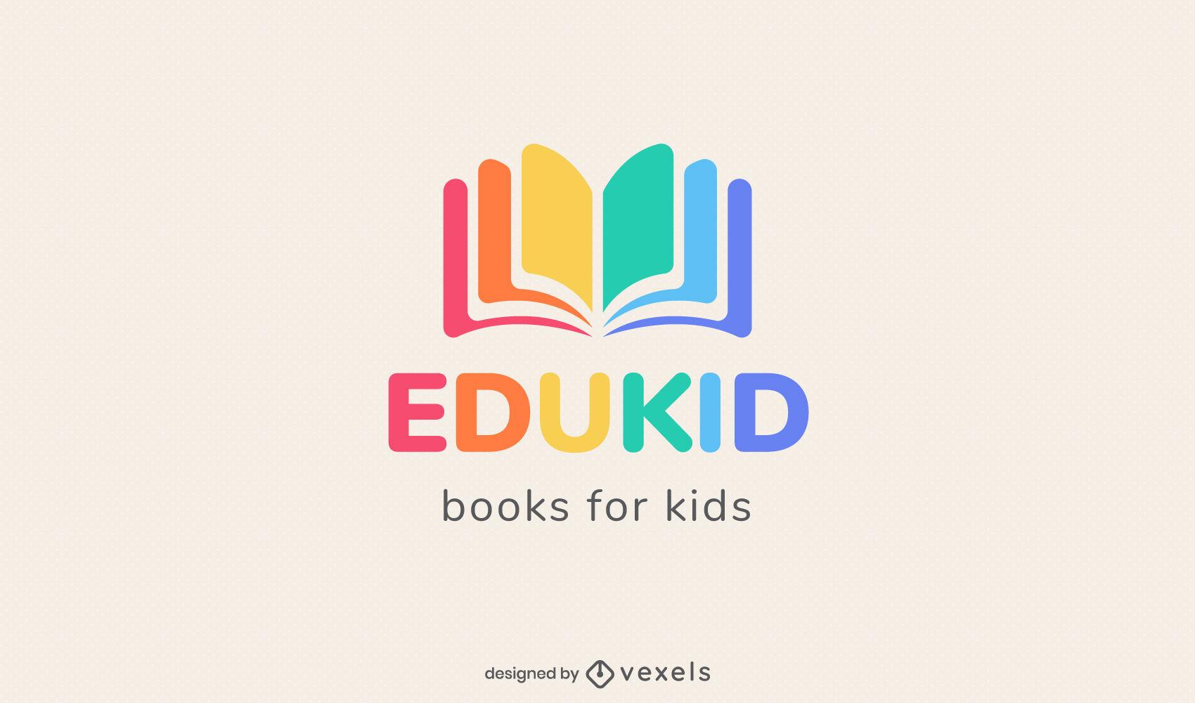 Rainbow colored open book logo design