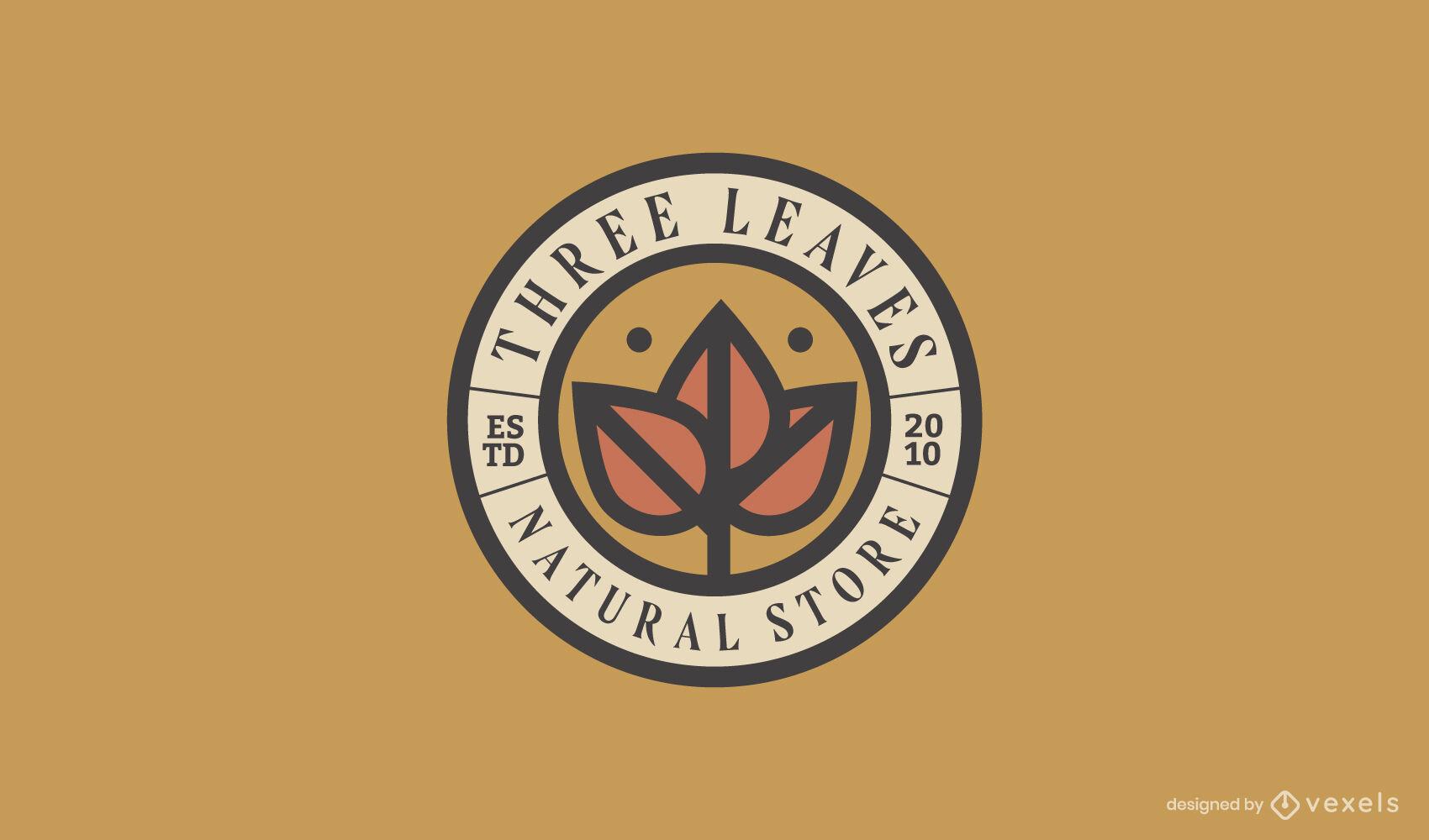 Plantilla de logotipo circular de trazo de color de hojas