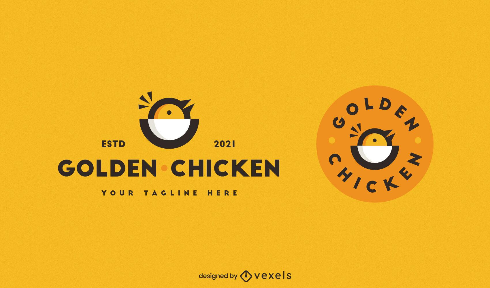 Baby chicken color stroke logo