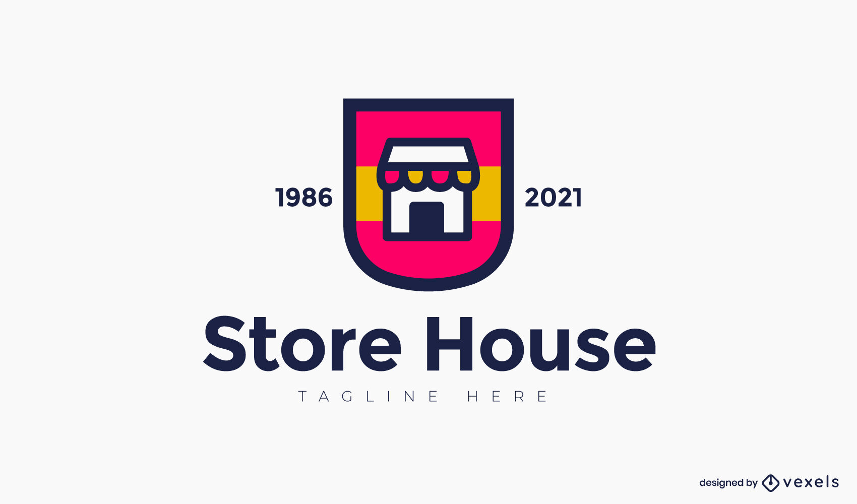 Color stroke store logo template