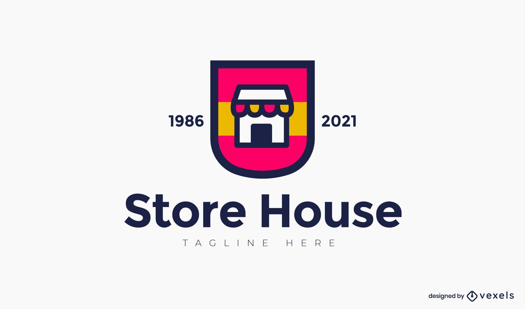 Modelo de logotipo de loja de traços coloridos