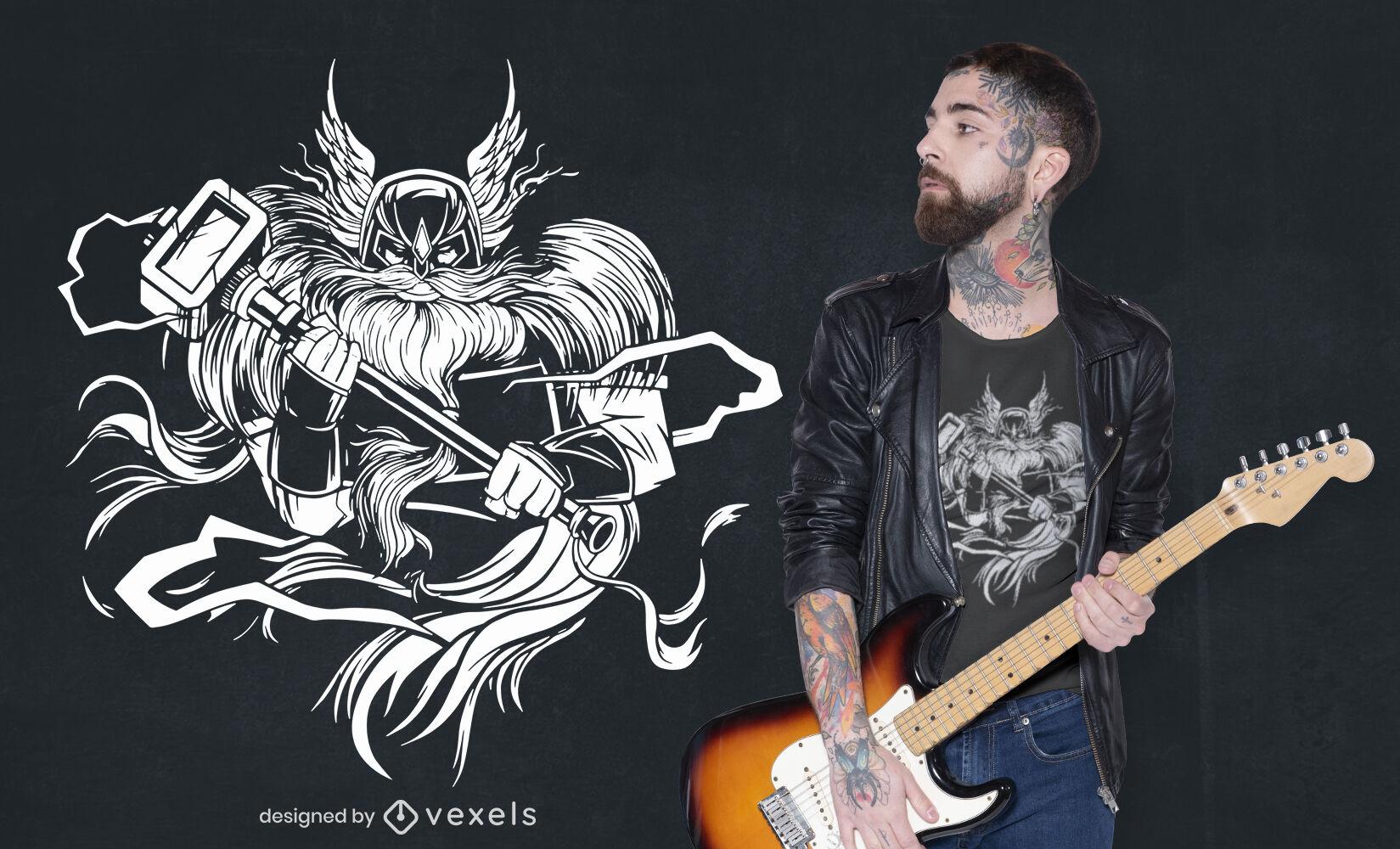 Viking com design de t-shirt de martelo