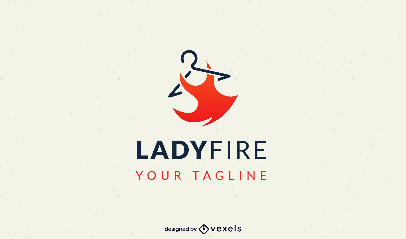 Plantilla de logotipo de ropa de moda de vestido rojo