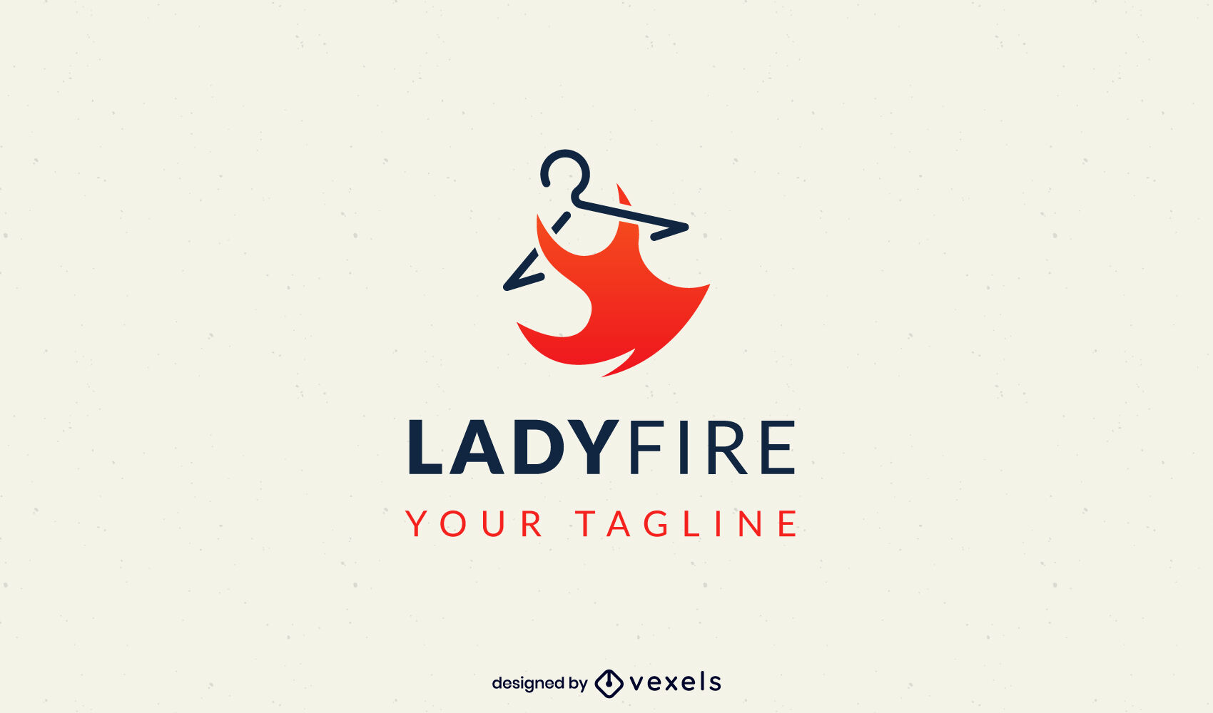 Red dress fashion clothing logo template