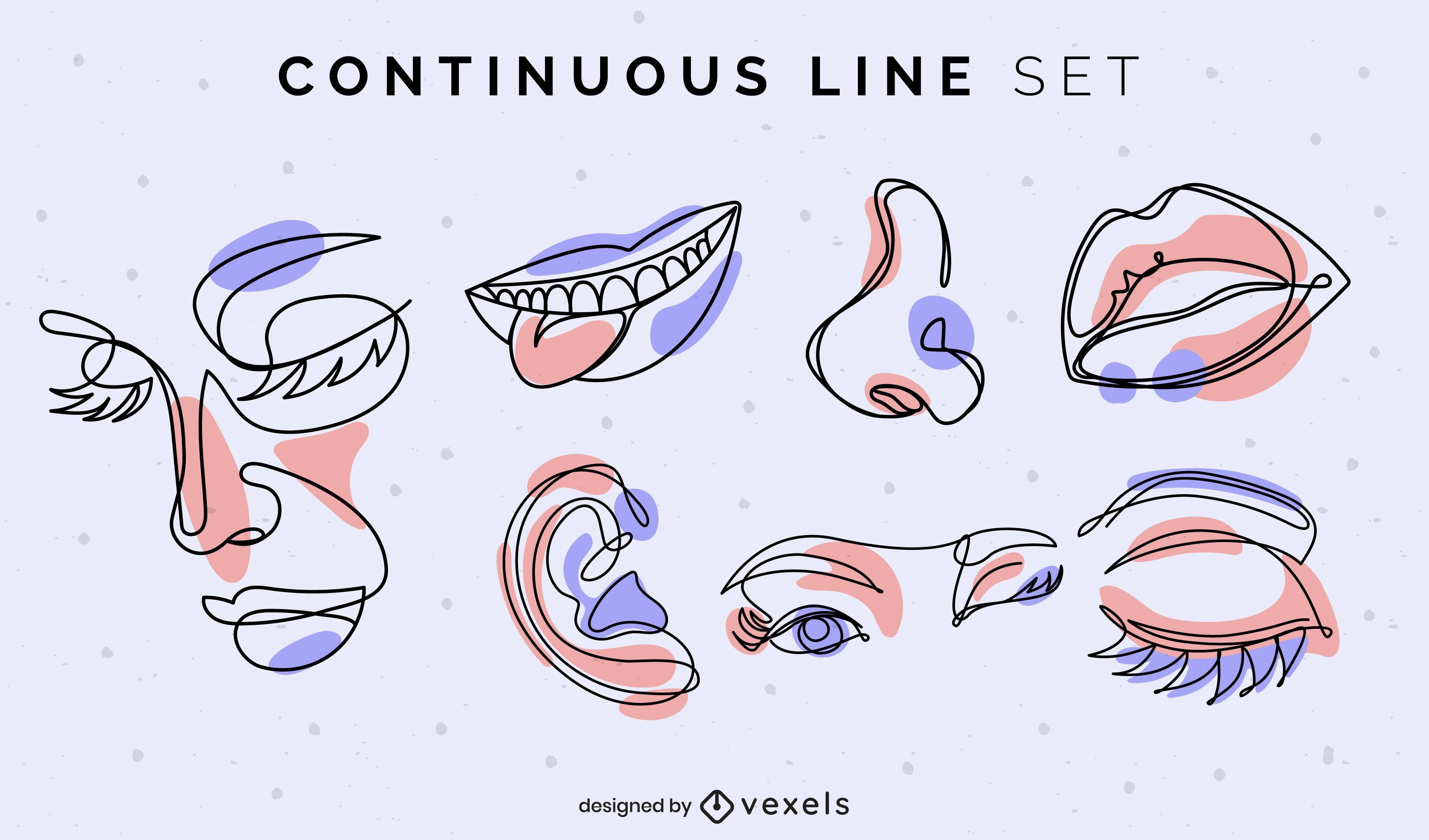 Conjunto de linha contínua de itens de anatomia facial
