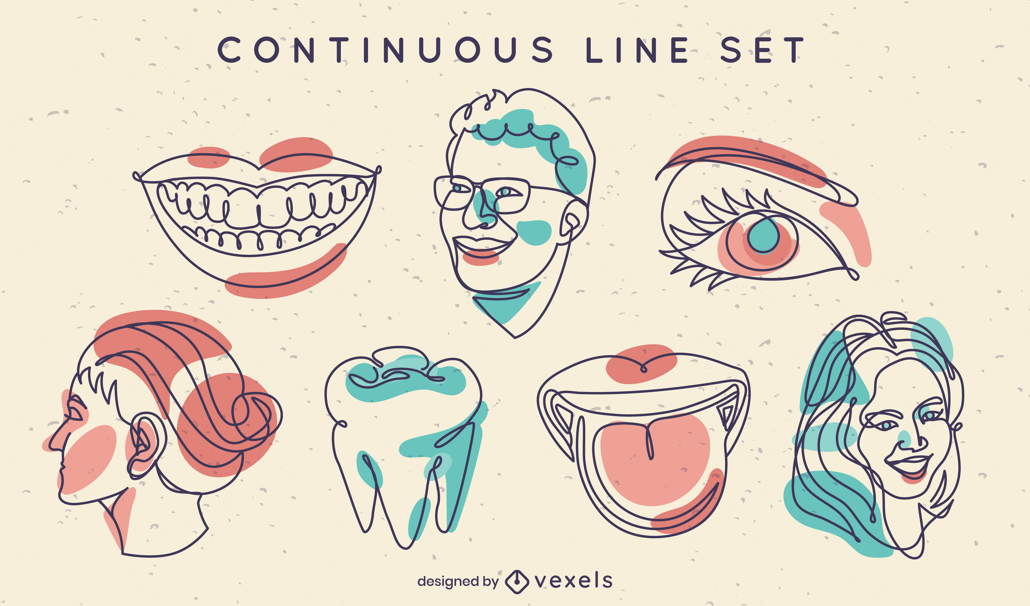 Continuous line faces and elements