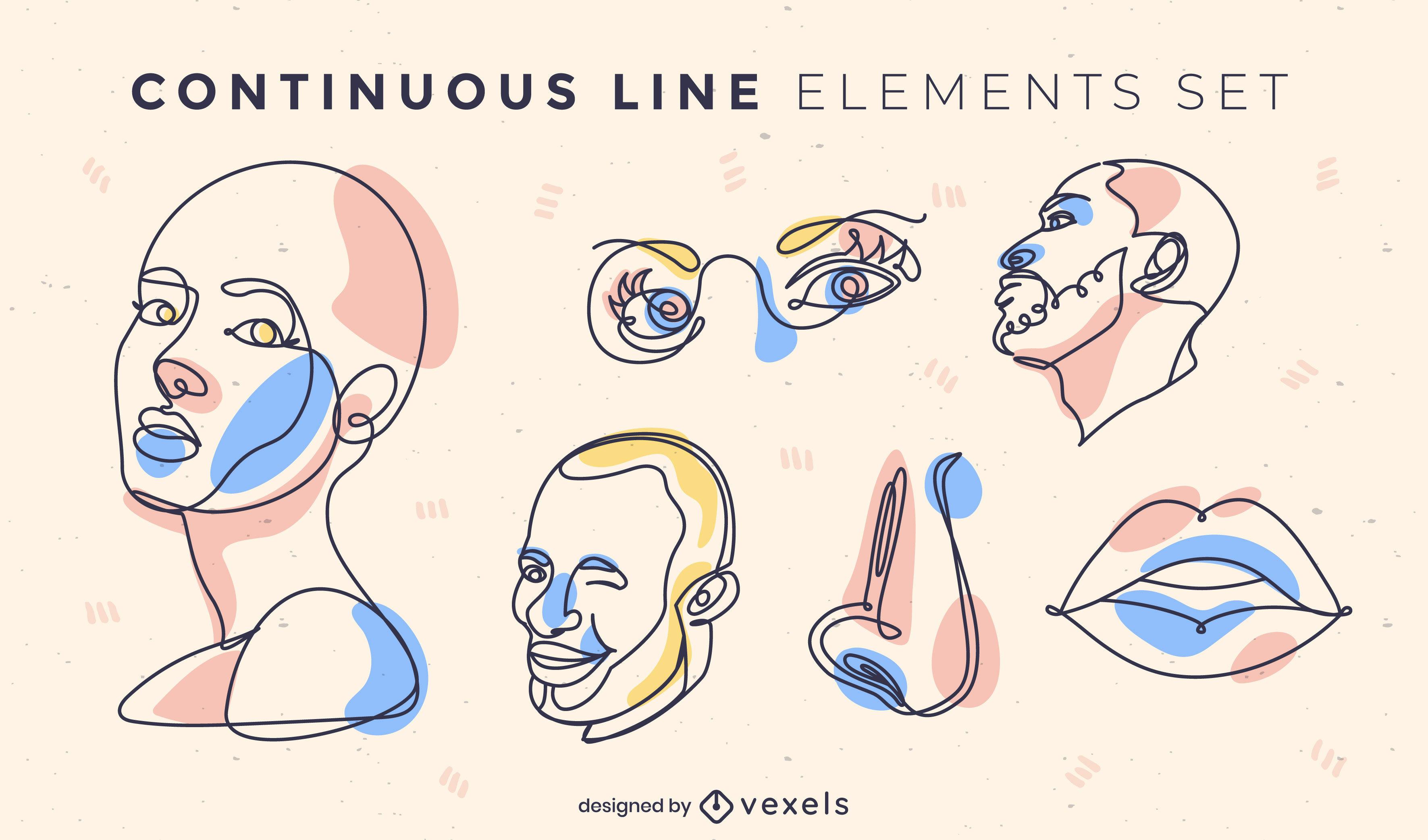 Conjunto de líneas continuas de elementos faciales y anatómicos