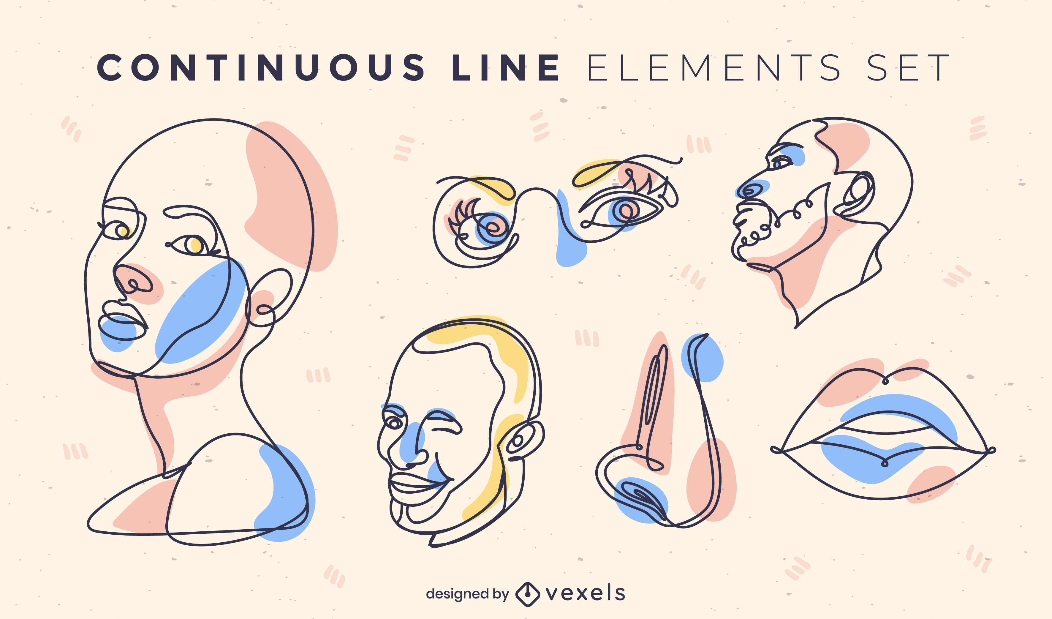 Face and anatomy items continuous line set