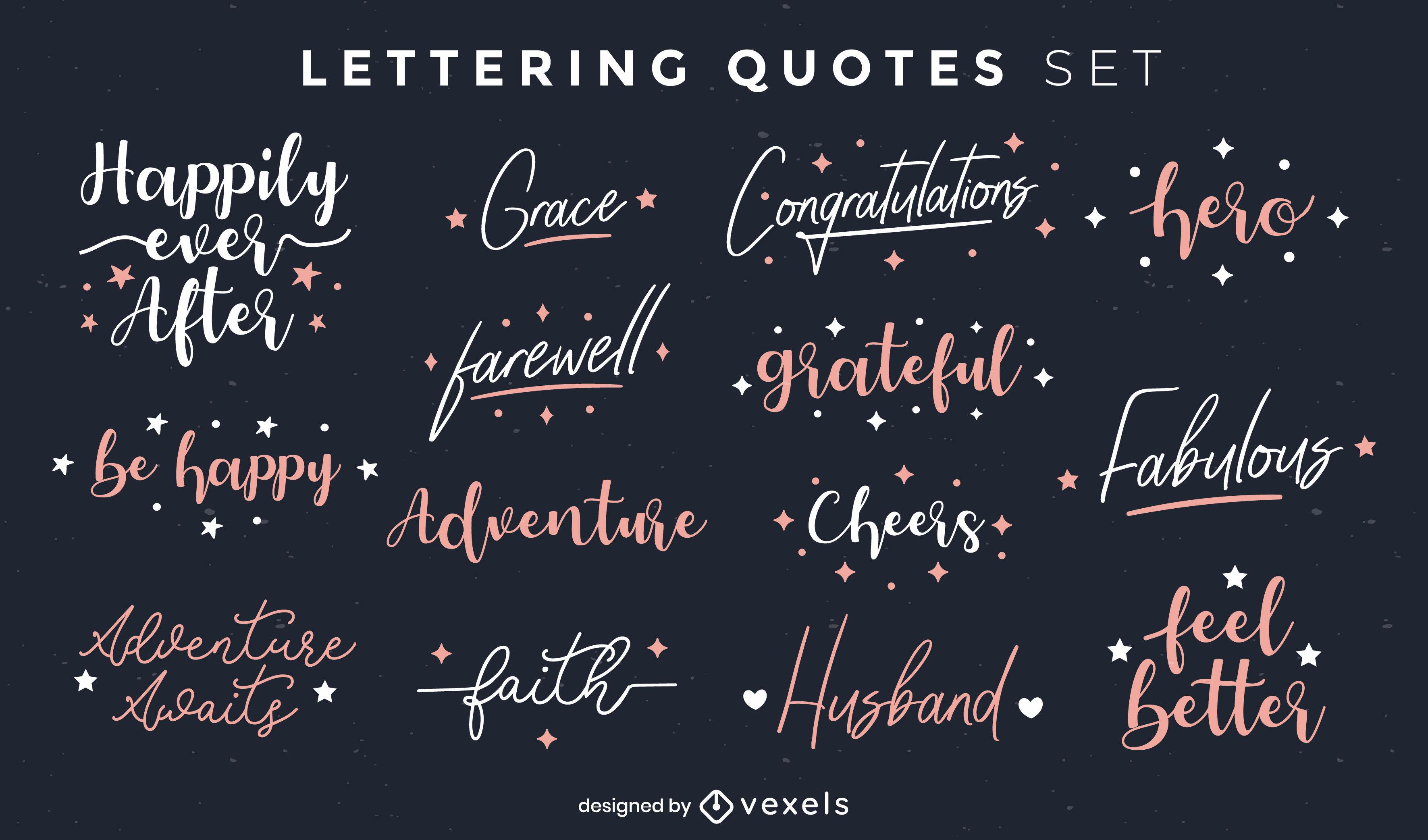 Lettering positive quotes set