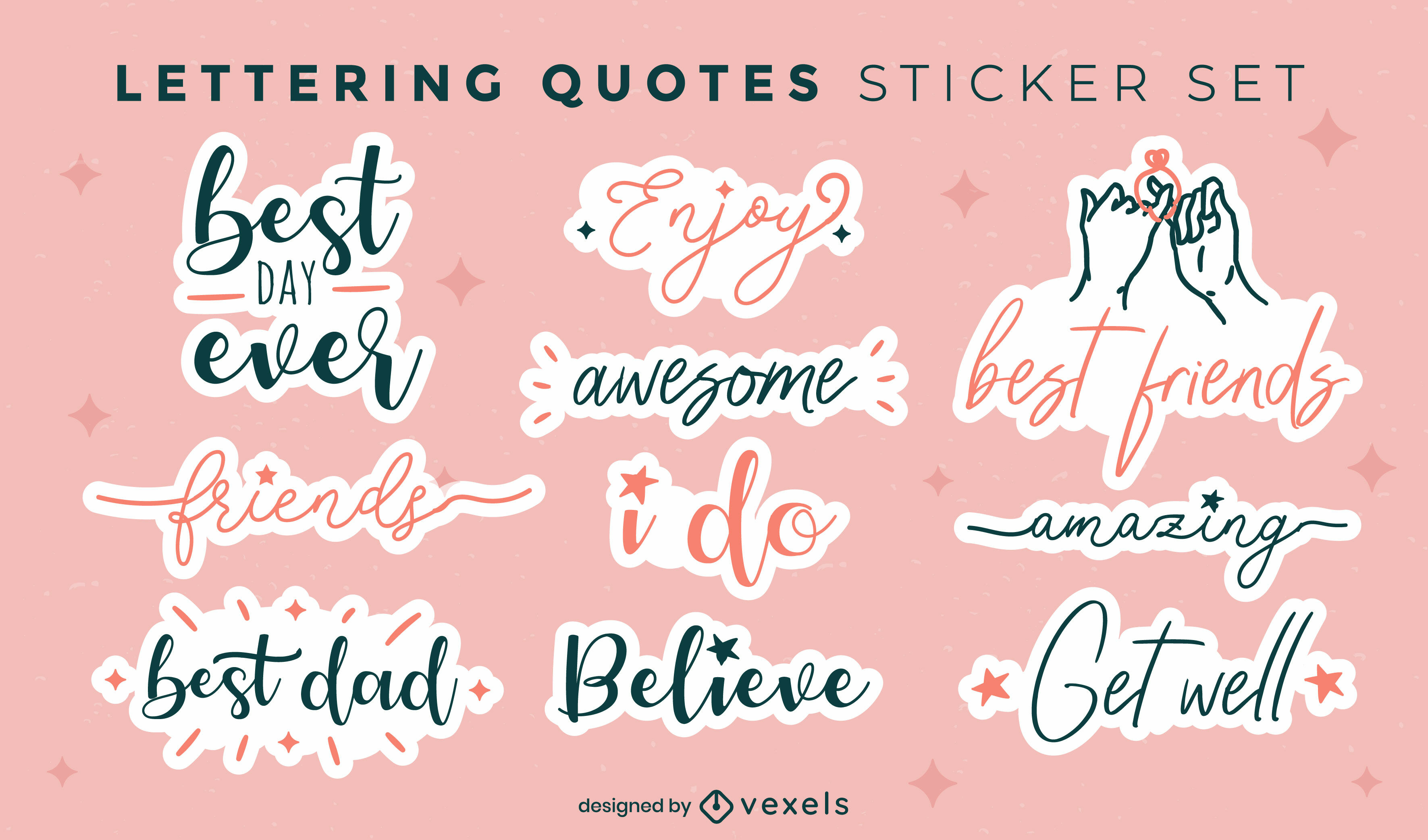 Lettering positive quotes stickers set