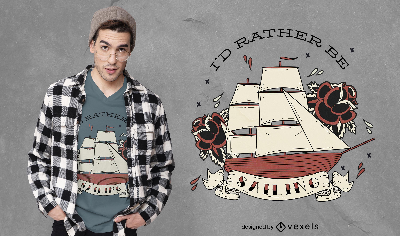 Diseño de camiseta de barco náutico navegando en el océano.