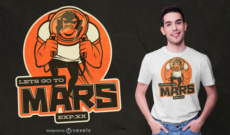 Diseño de camiseta de astronauta de mono marte