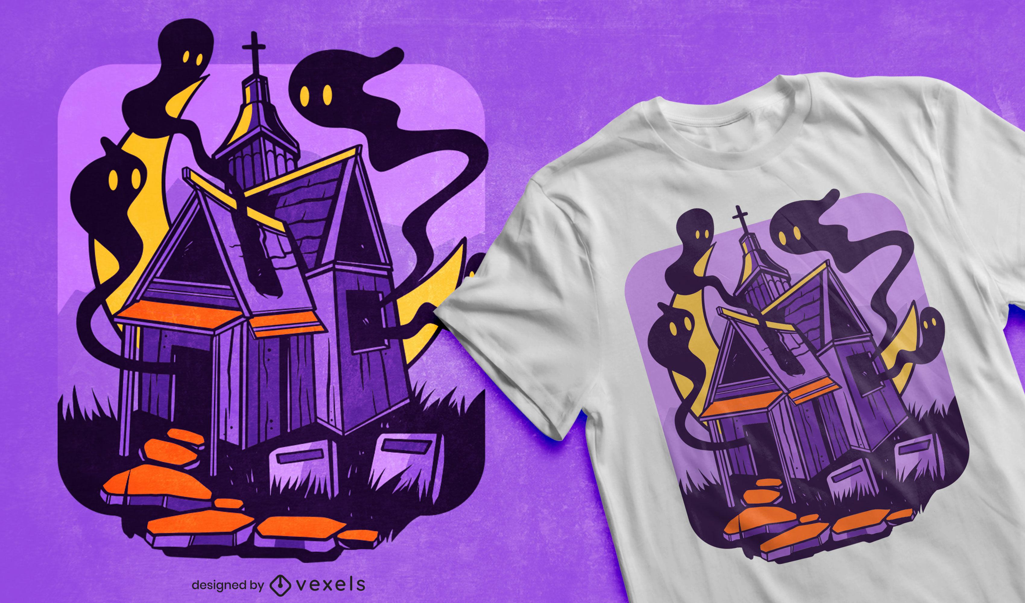 Diseño de camiseta de halloween fantasmas de la casa embrujada