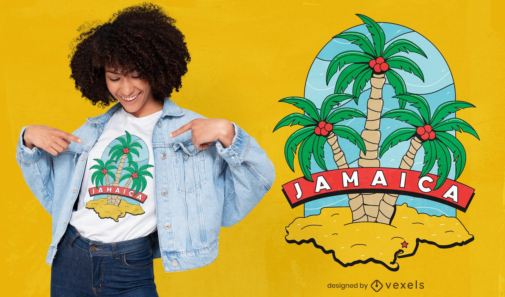 Diseño de camiseta de palmeras de jamaica