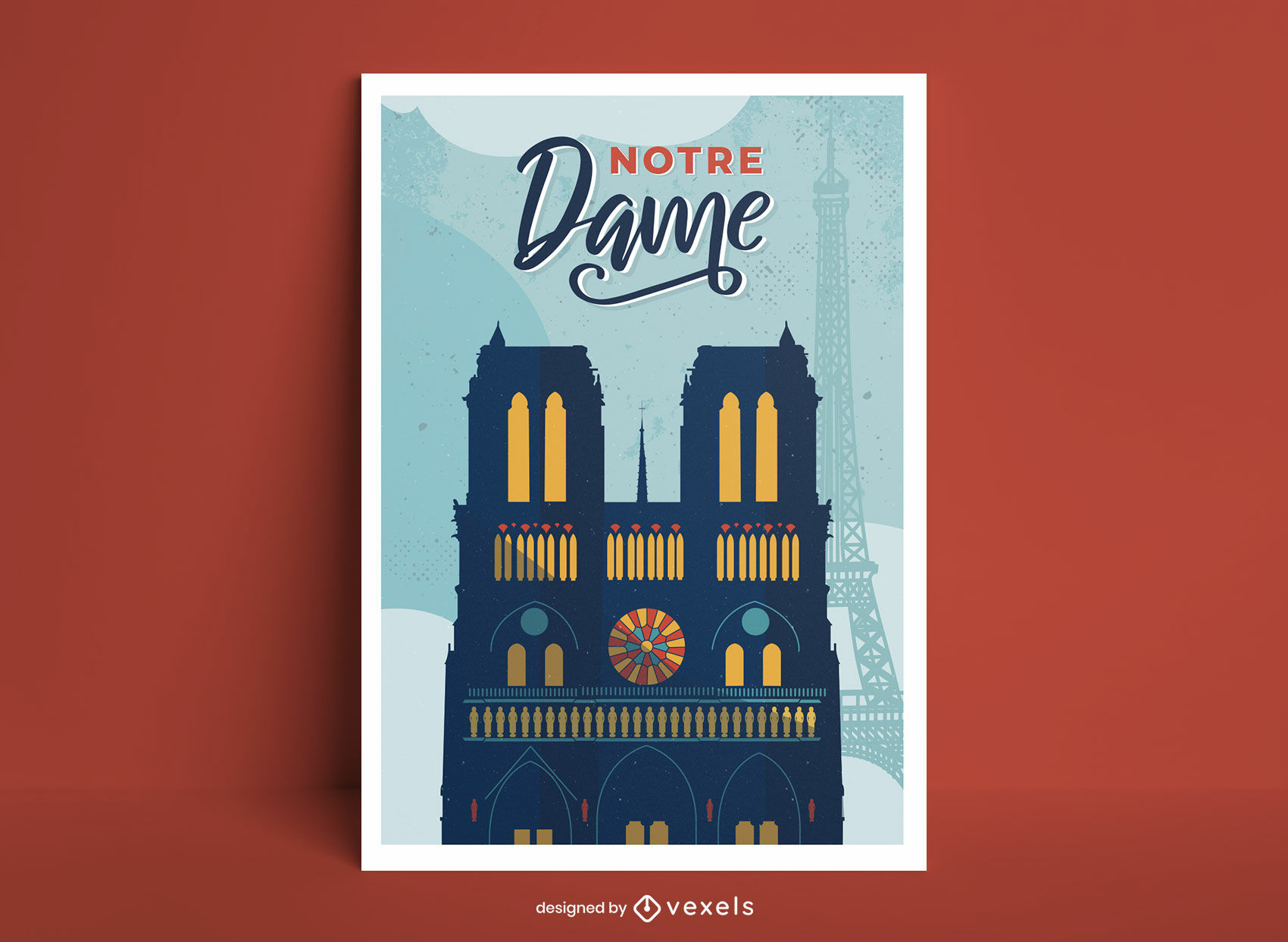 Notre dame building france poster design