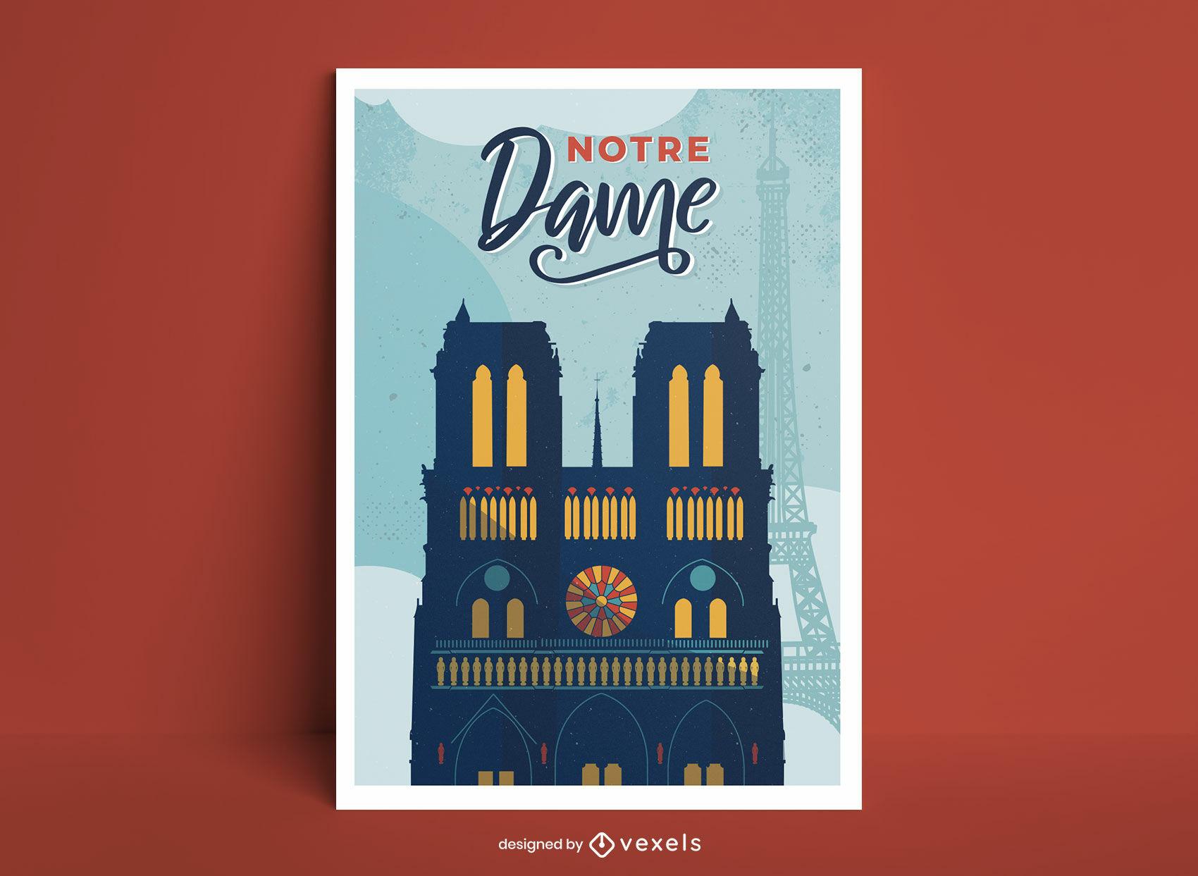 Notre dame building francia cartel diseño