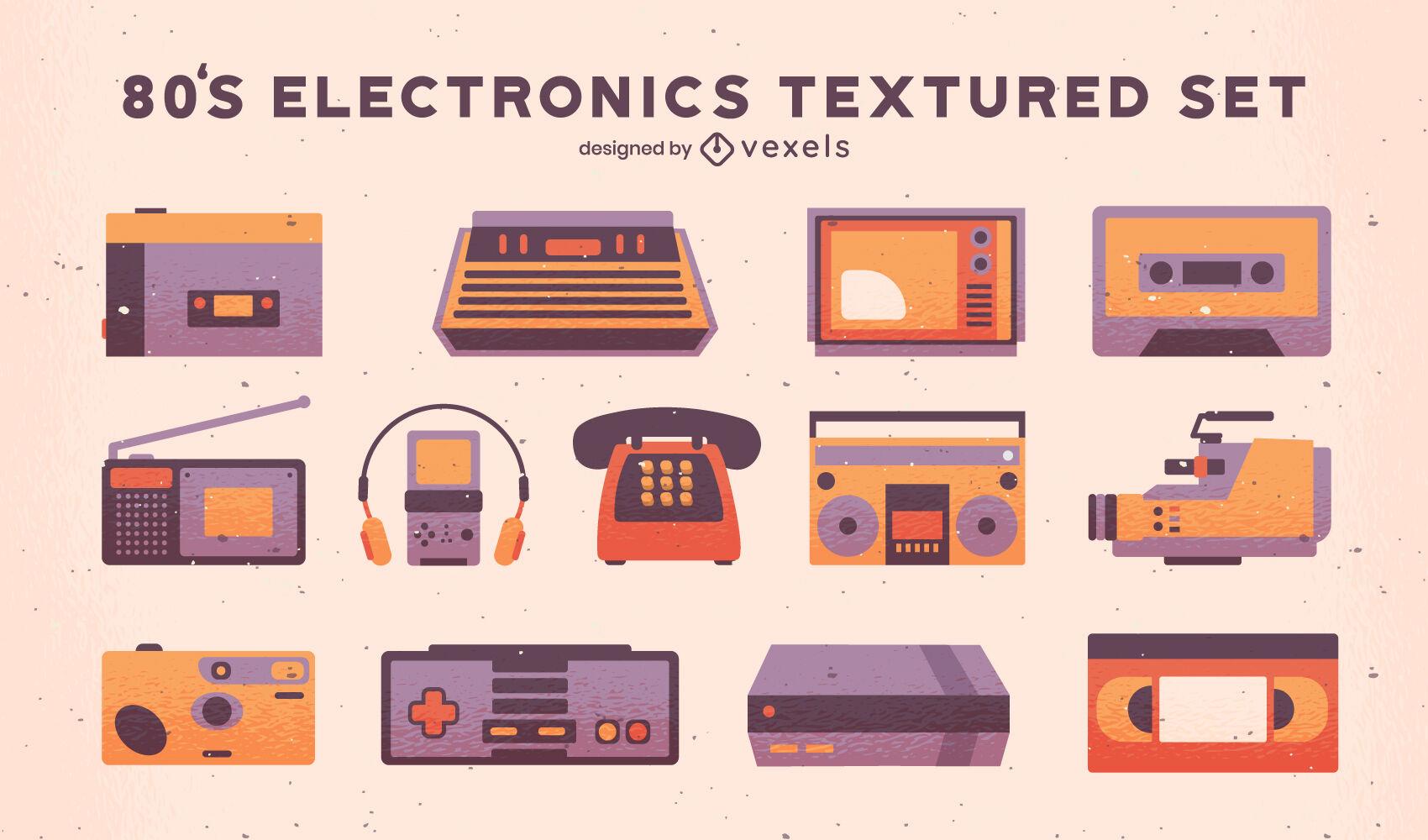 Elementos retro de tecnología de los 80 con textura.