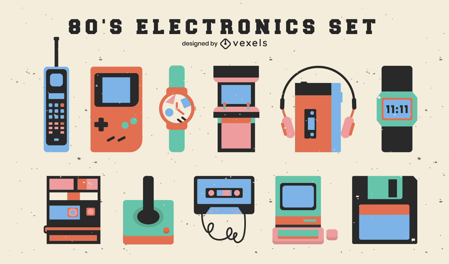 Electronic elements of the 80s flat set