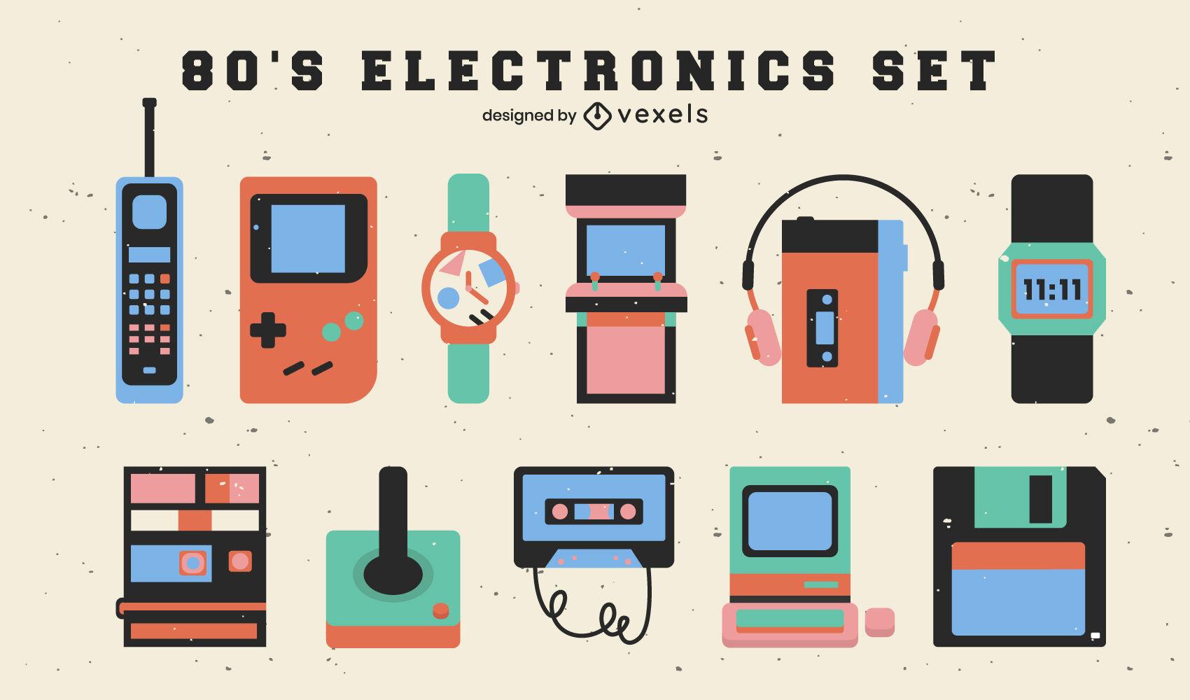 Elementos electr?nicos del set plano de los 80.