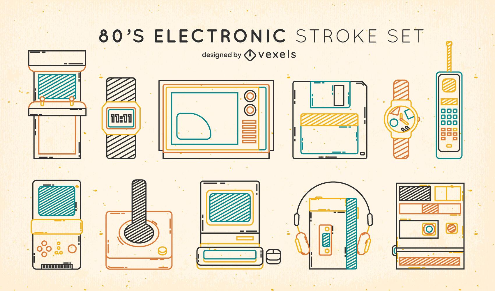 80s electronic elements color stroke set
