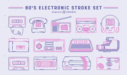 Set of retro technology elements stroke
