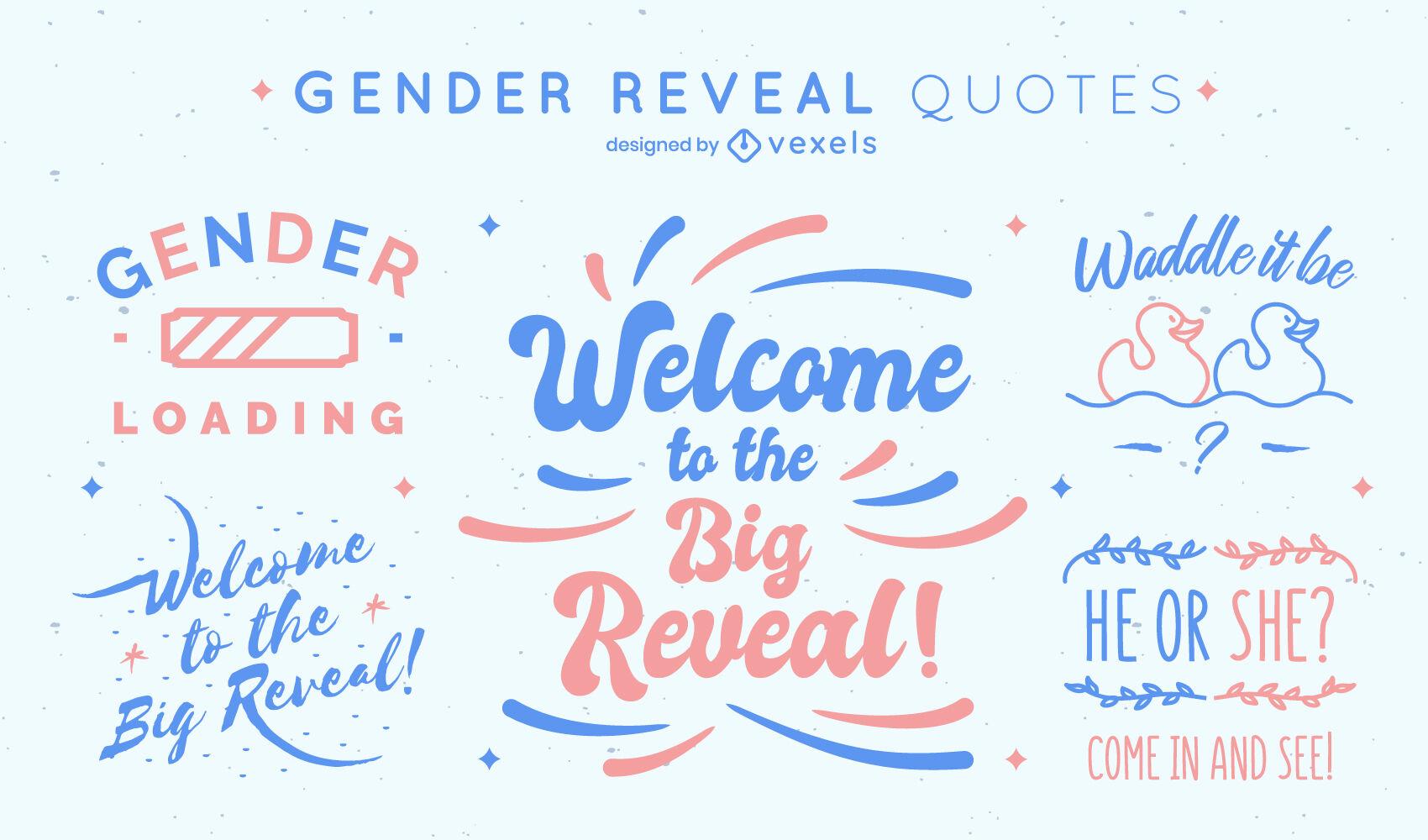 Conjunto de citas de fiesta de revelación de género
