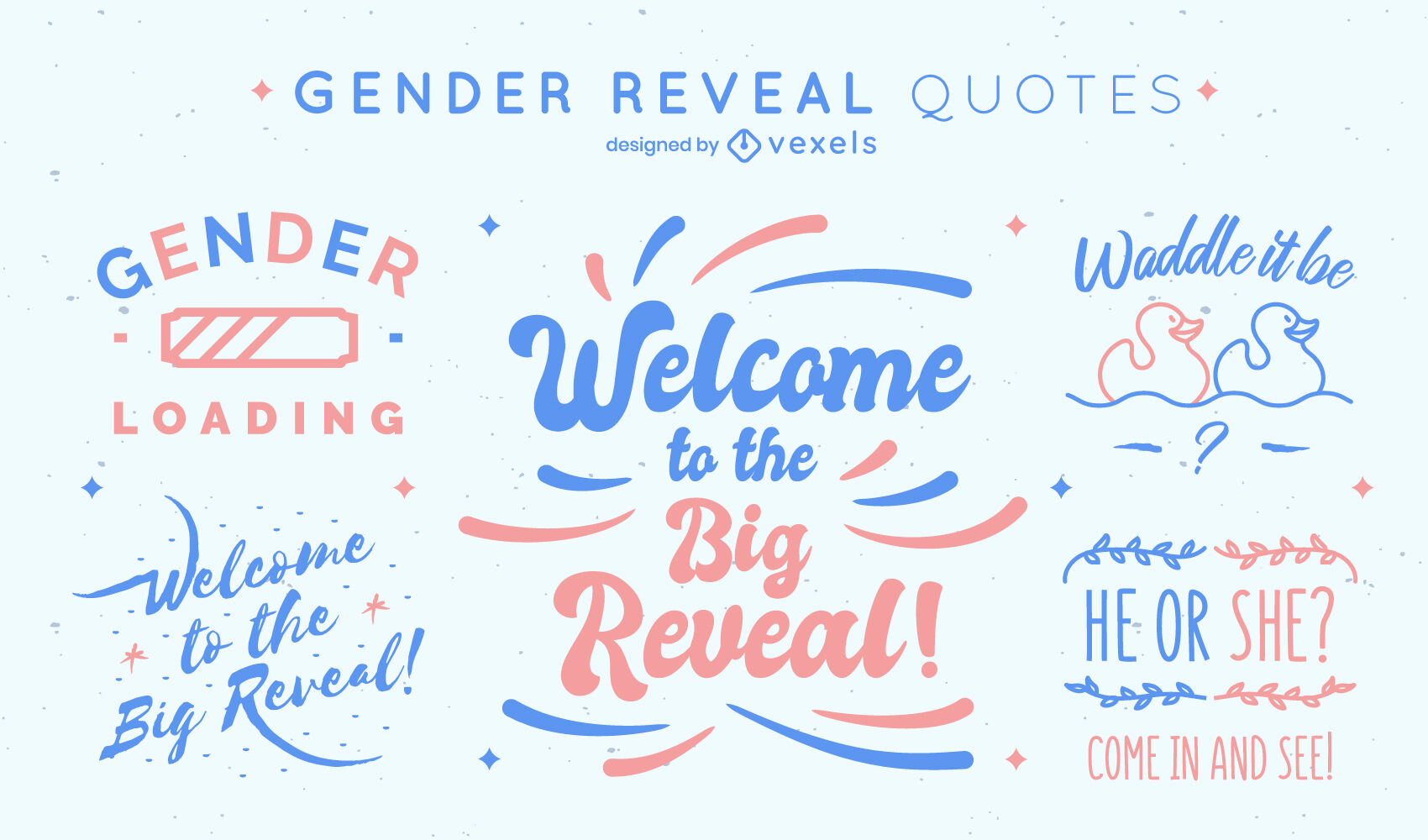 Gender reveal party quotes set