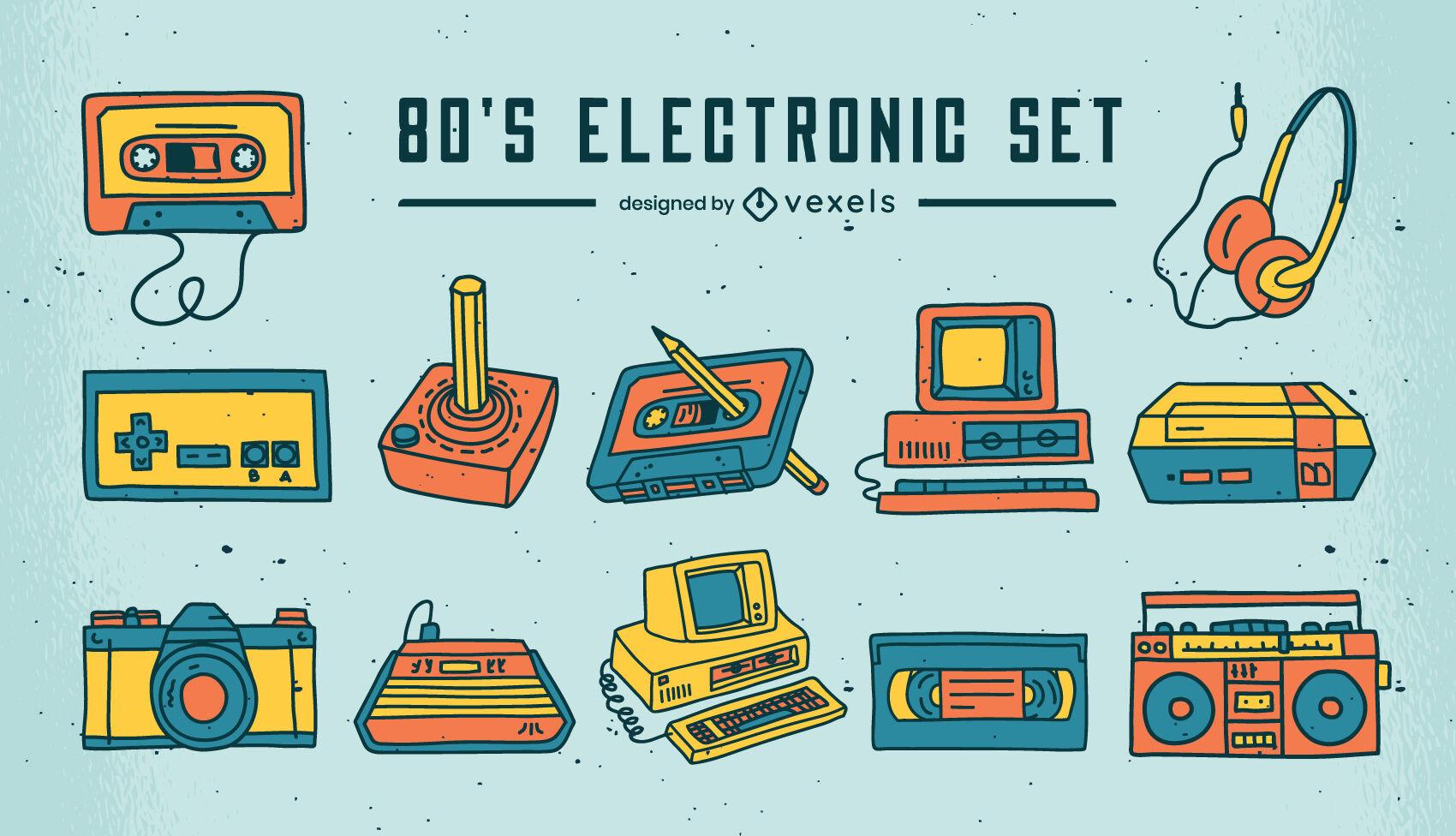 Conjunto de elementos de tecnología retro.