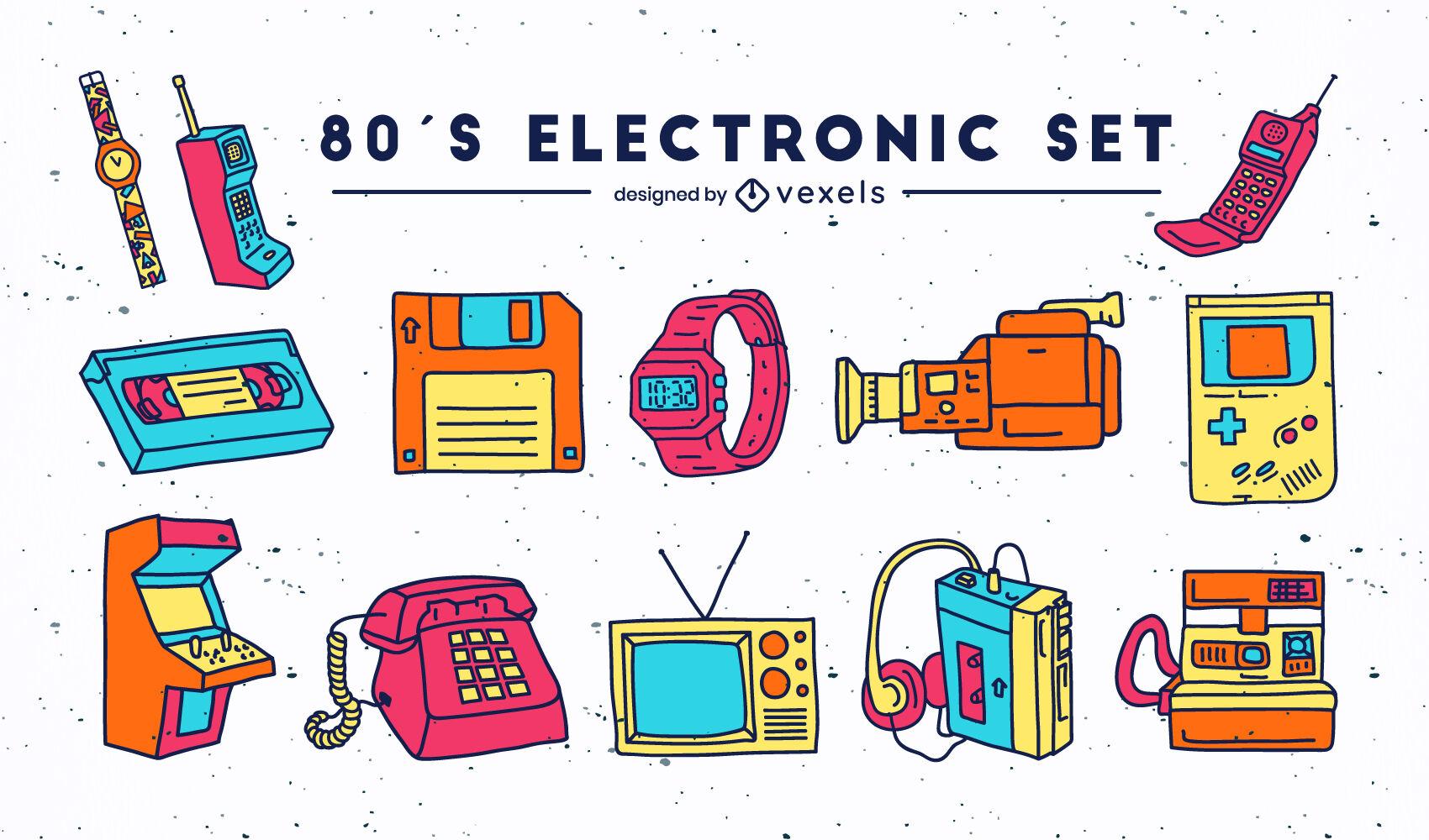 Electronic tech elements 80s set color stroke