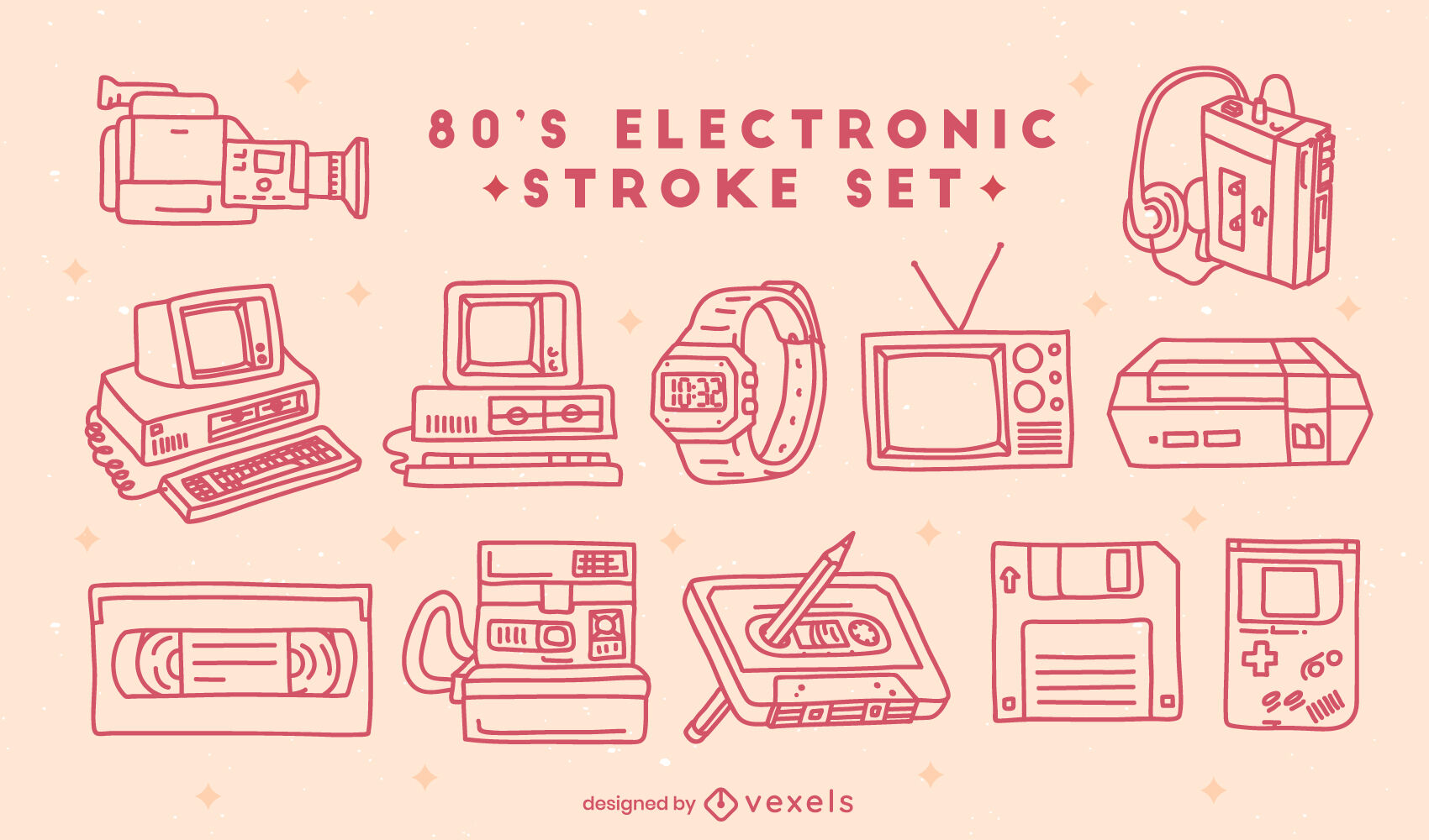 Electronic tech elements 80s set stroke