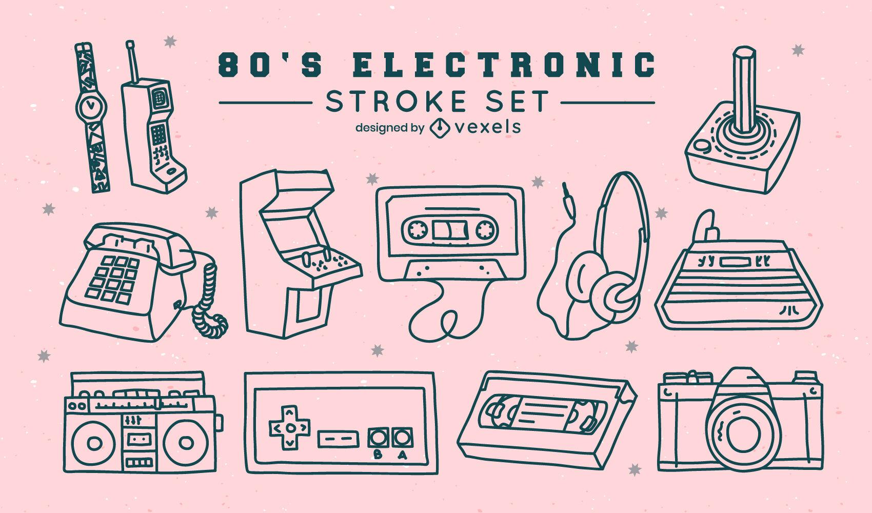 Technology retro elements stroke set