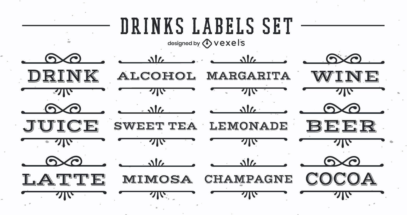 Set of vintage drink labels