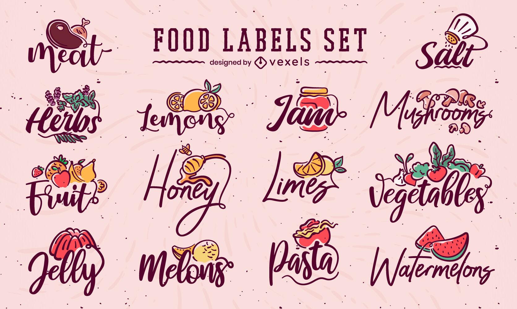 Food labels letttering drawing set