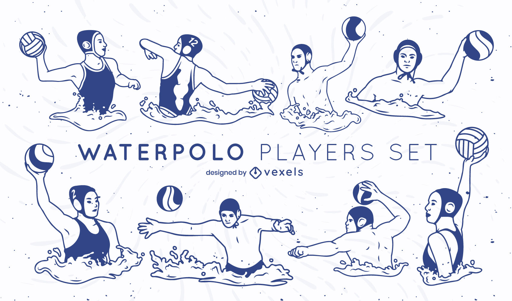 Waterpolo players filled stroke set