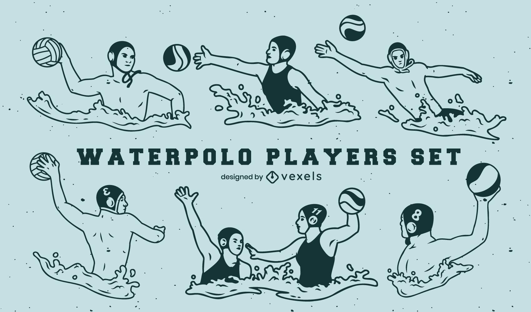 Conjunto de jugadores de waterpolo llenos de trazo.