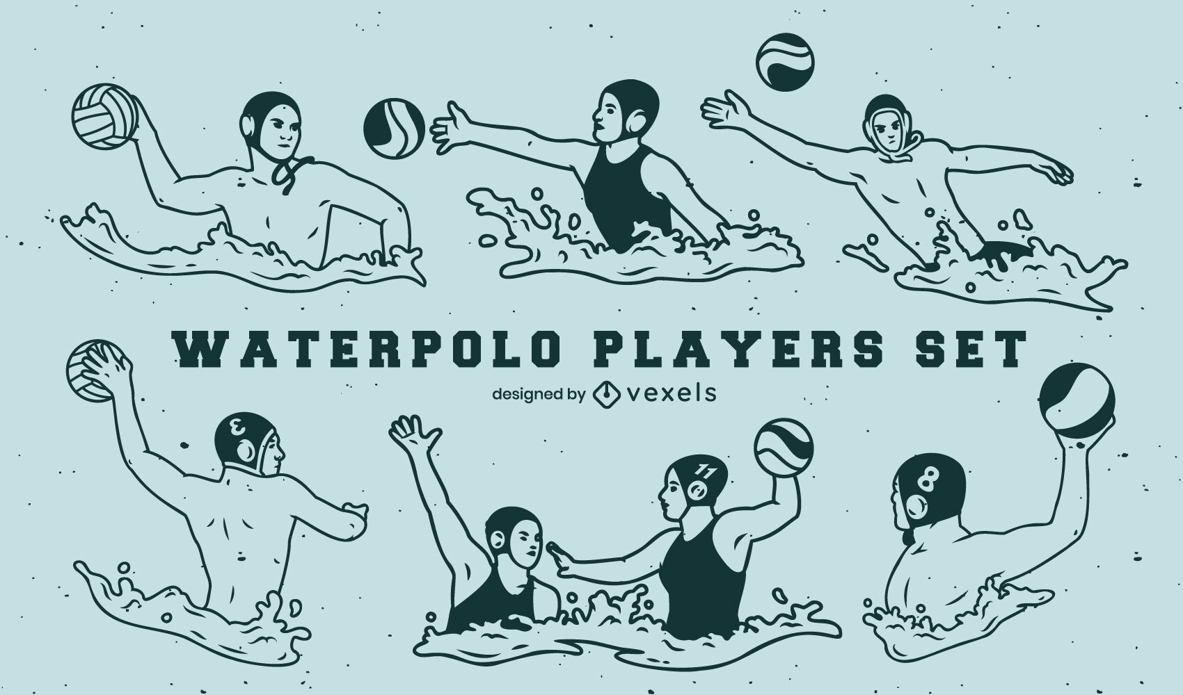 Set of waterpolo players filled stroke