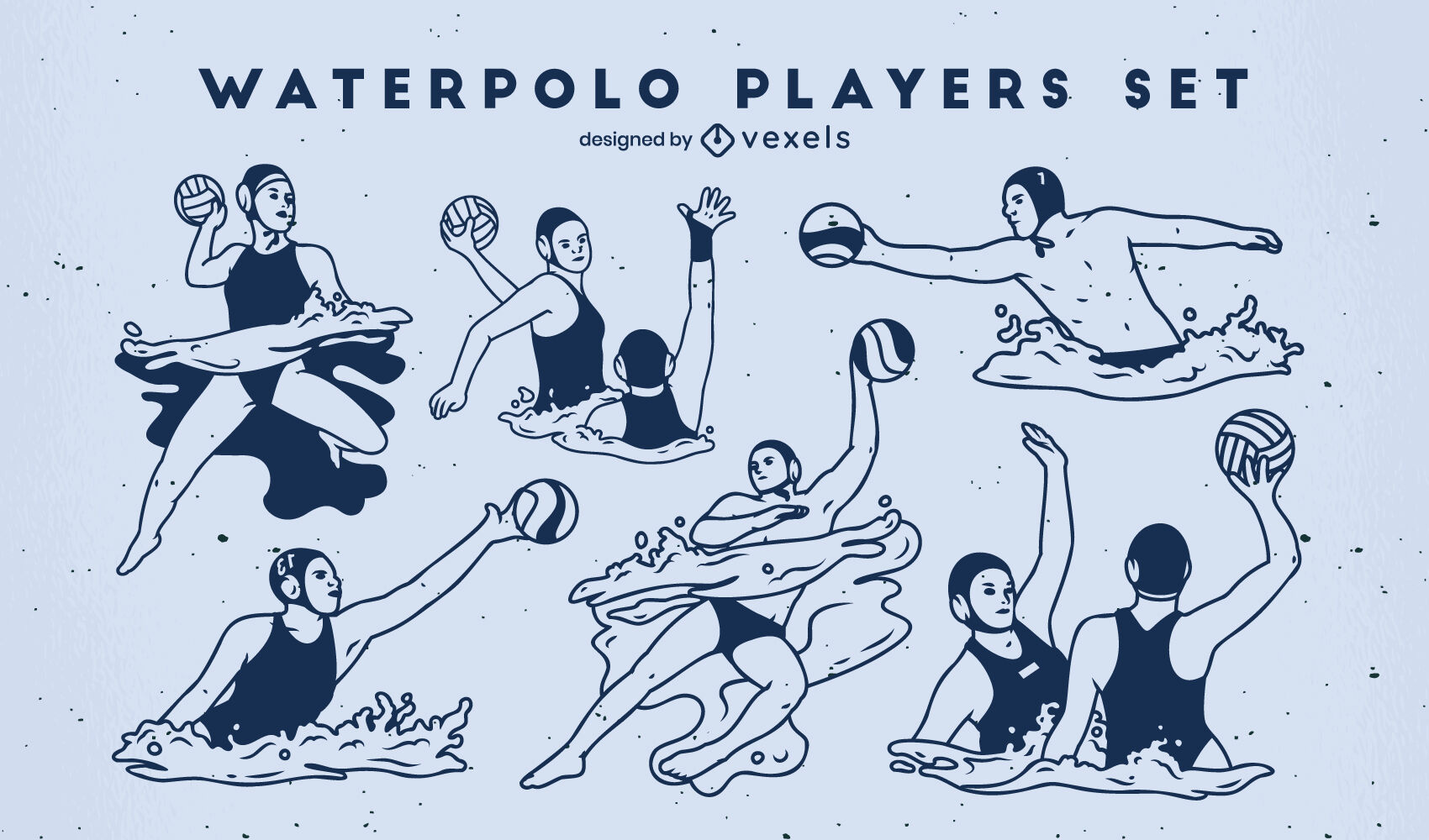 Waterpolo players set filled stroke