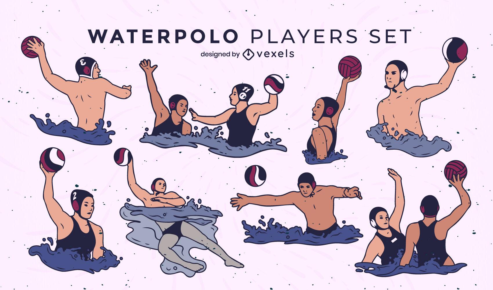 Juego de trazos de color de jugadores de waterpolo