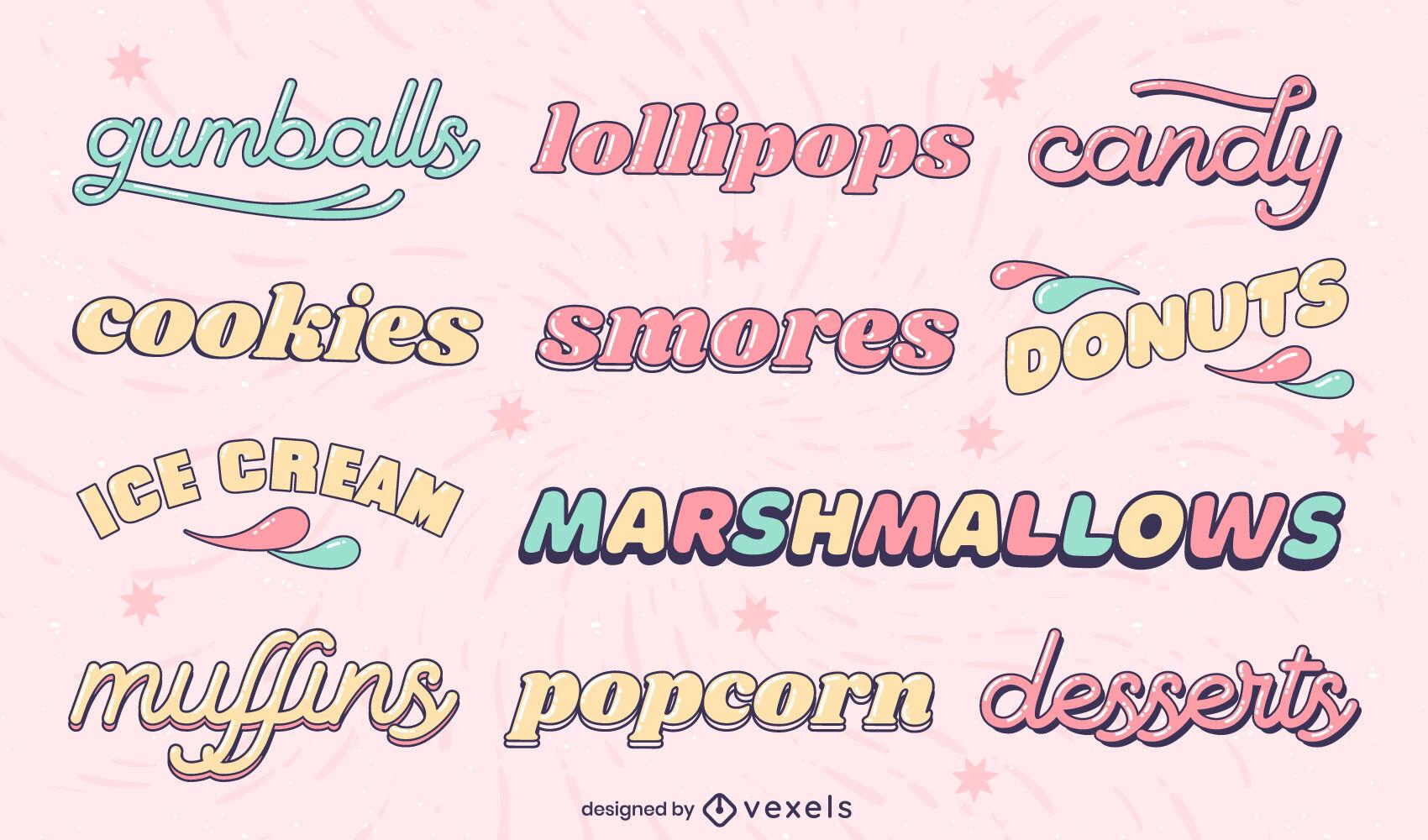 Conjunto de etiquetas de caramelo brillante
