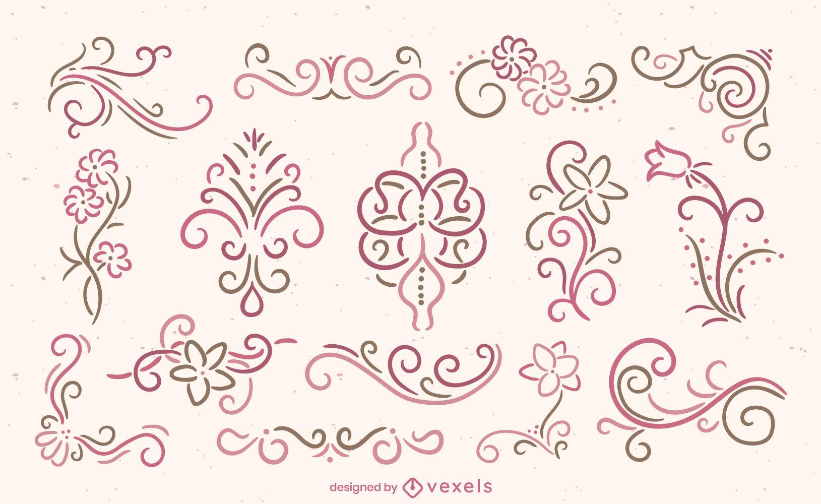 Decoración ornamental de flores y remolinos.