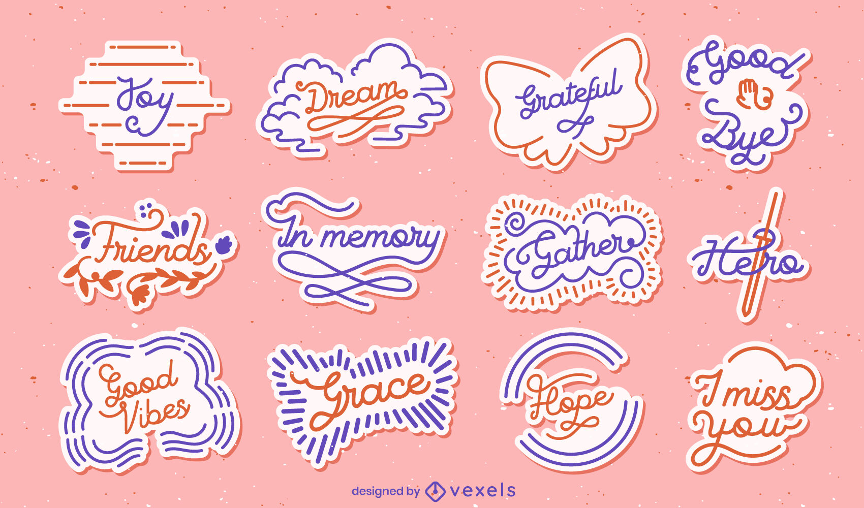 Good vibes quotes lettering stickers