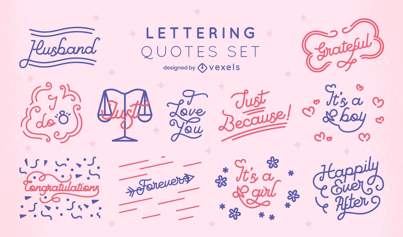Conjunto de letras de citas de boda y beb?